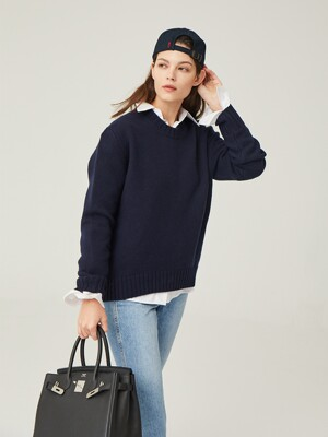 CENTRAL PARK round knit_Navy