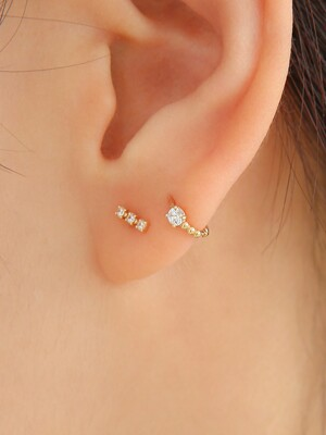 14k gold mini ball CZ onetouch ring piercing (14k 골드)