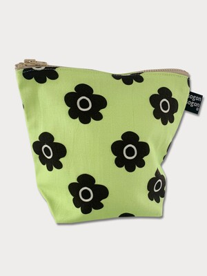 retro flower green pouch