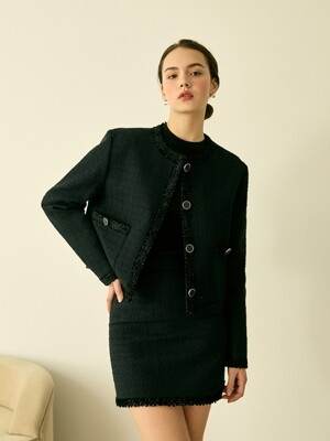 Classic Tweed Jacket (Black)