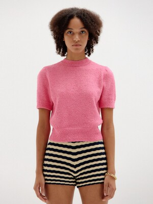 SORA Short Sleeve Knit Top - Pink