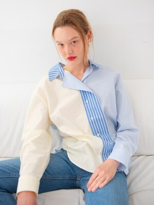 COLOR BLOCKING STRIPE SHIRT