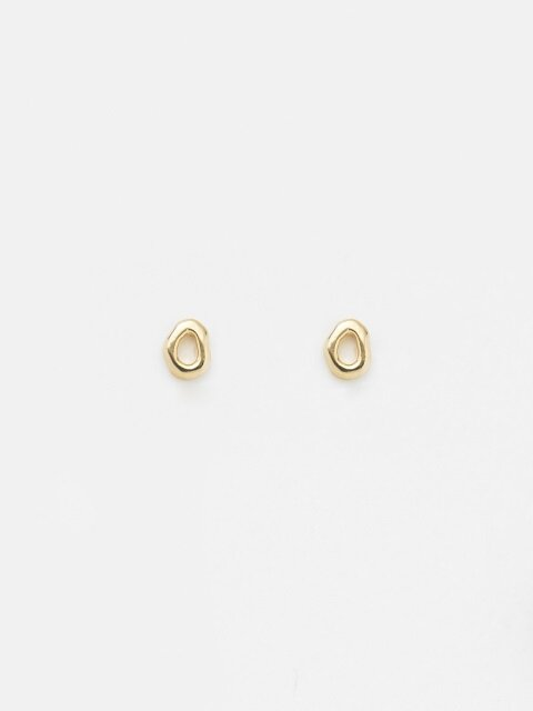 SMALL GREY STUD EARRING_GOLD