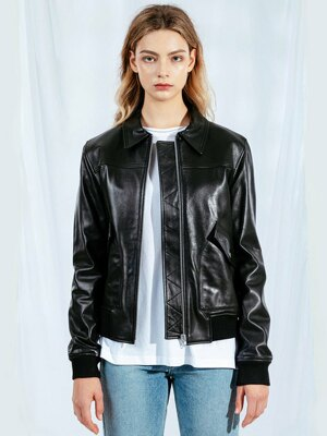 (WOMAN) lambskin A-1 jacket (Black)
