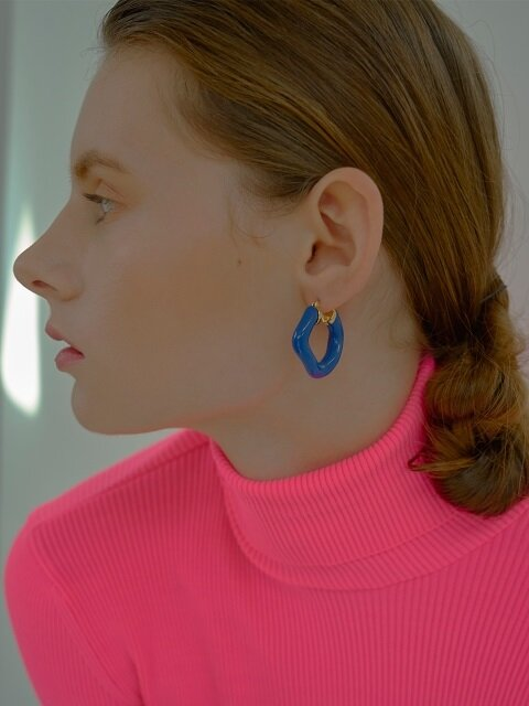 Wave Link Earrings_Blue