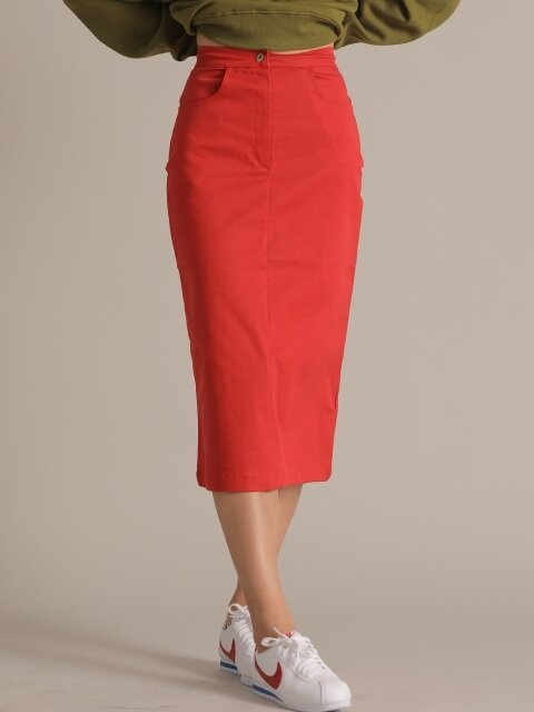 R LONG SKIRT RED