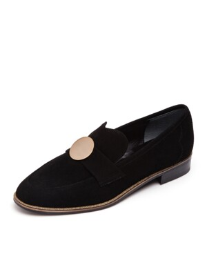 Girls Step Twinkle Loafer Suede Black_0055