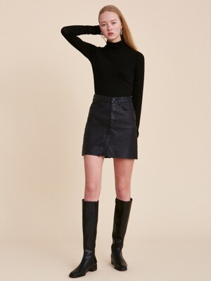 V263 COATING SPAN SKIRT_BLACK
