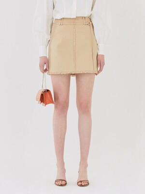 19SS POCKET DETAIL MINI SKIRT WITH BELT BEIGE