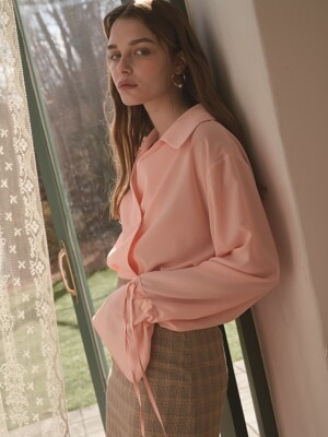 four button blouse pink