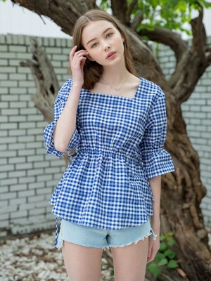 Check Square String Blouse