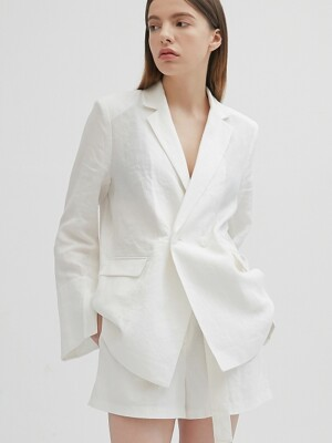 LINEN BASIC SLIT JACKET - WHITE