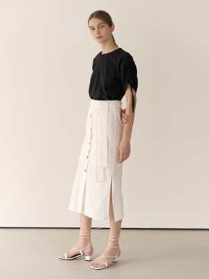 19RESORT LINEN STITCH SLIT SKIRT_3COLOR