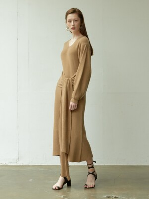 belted knit long dress