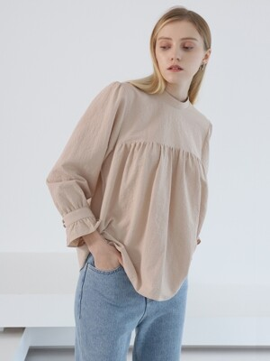 SLEEVE FRILL BLOUSE BEIGE