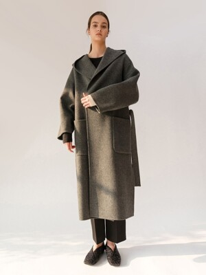 19FW HAND-MADE HOODED SHAWL COLLAR COAT (DARK GRAY)