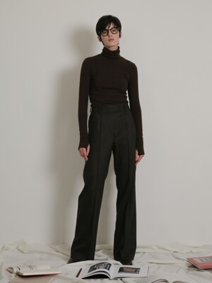 SEMI-WIDE SLIT PANTS_KHAKI