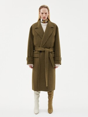 MATTIA MILITARY ROBE COAT awa192u(KHAKI)