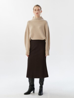 NTW WOOL FLARE SLIT SKIRT 2COLOR
