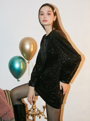 Spangle Mini Dress_ Black