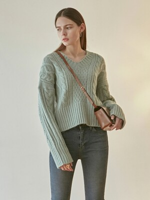 IRISH CABLE V SWEATER_MINT