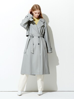 OVERSIZE BUTTON POINT ECO TRENCH COAT GREY