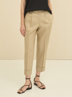linen turn-up trousers (beige)