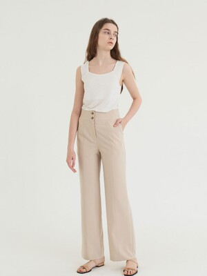 20' SUMMER_Beige Tailored Straight Trousers