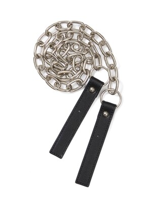 Leather Buckle Chain Strap in Black_VX0AX0600