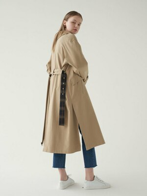20' Fall_Beige Corduroy Mix Long Trench Coat