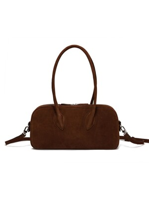 SUEDE BOWLING LEATHER HANDBAG, BROWN