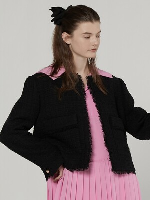 Tweed cropped jacket - Black