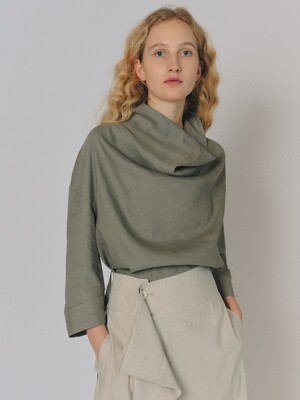 BACKLESS LINEN BLOUSE [K/GREY]