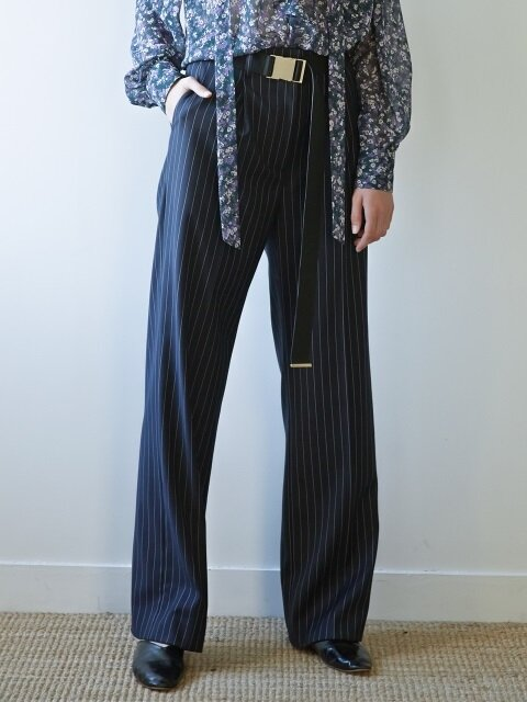 17FW WIDE-LEG TROUSERS(NAVY STRIPE)