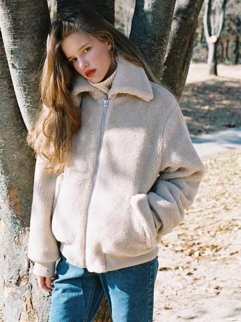 FAKE WOOL FUR BOMBER JACKET BEIGE (WOMEN)