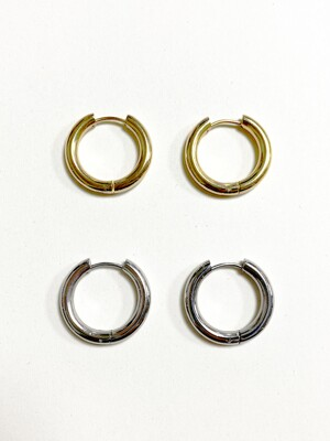 Pipe hoop earring (2color)