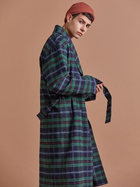 코튼 체크 로브 / COTTON CHECK ROBE_Green_M