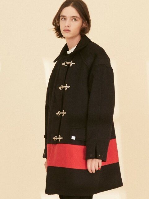 OL127_Color Block Coat_Black-Red