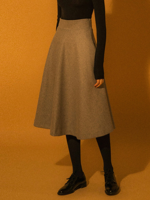 Wool Flared Skirt - Grey
