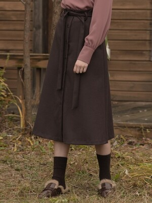 Flare Wool Skirt Brown