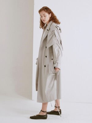 19SS HOODED DRAW STRING TRENCH COAT (LIGHT GRAY)