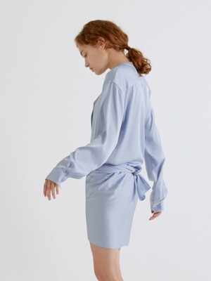 19SS DETACHABLE HEM WRAP DRESS (SKY BLUE)