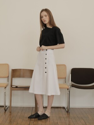 19SS BUTTON FLARE SKIRT /WHITE