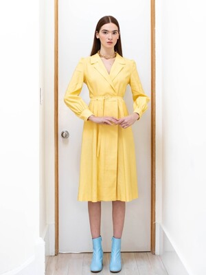 UPPER EAST notched collar shirt dress (Lemon)