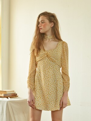 Chiffon Sleeve Square Neck Dress_ Yellow
