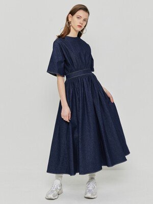 R DENIM FLARE LONG DRESS