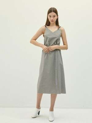 GREYBROWN leather string gingham check V-neck dress(IT058)