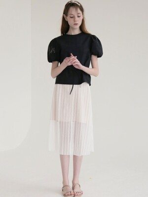 STRIPE LACE SKIRT_WHITE