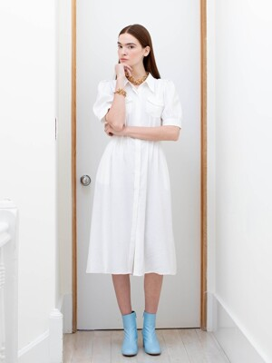 NOHO puffed shoulder shirt dress  (White)