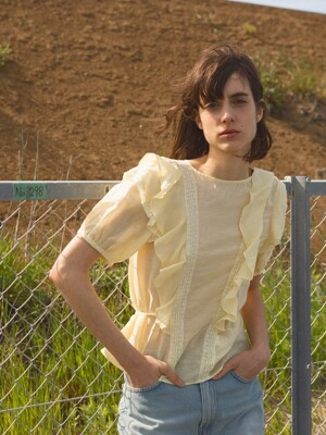 Ruffle Peasant Blouse, Chiffon Yellow